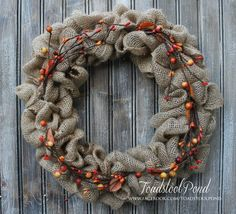 Stunning 16 Natural Burlap Wreath with Fall Pip by ToadstoolPond
