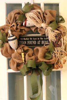 Lake House Burlap Wreath by ShawnWeigmanDesigns on Etsy Camo Wreath, Nautical Wreath, Hunting Wreath, Hospital Door Decorations, Deco Mesh Wreaths, Burlap Wreaths, Lake Decor, Outdoor Wreaths, Burlap Crafts