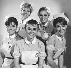 "The nurses from the British TV drama "" Emergency Ward"" 10, 1960's."
