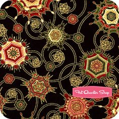 Holiday Flourish 5 Black Snowflake Swirl Yardage SKU# 12407-2
