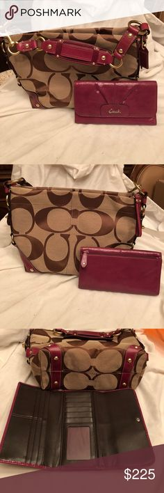 NWOT Coach Purse and matching wallet bundle New without tags coach handbag in signature treated canvas and genuine leather in berry. Goldtone hardware and gorgeous. Wallet is also in new without tags condition and without flaws. They come from a smoke free home. Just in time for the holidays😁😍 Coach Bags Shoulder Bags