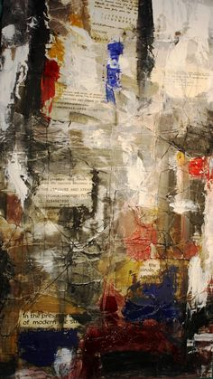 Mixed media...Adding text/paper and thread to oil paint. On MDF board. #Art #OilPainting #Original