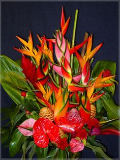 Tropical impressions with Heliconias, Gingers, Bird of Paradise and Anthuriums.