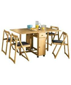Emperor Oak Stain Dining Table and 4 Folding Chairs
