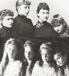 A beautiful comparison of mother and daughters, above are shown Irene, Princess Heinrich of Prussia, Victoria, Marchioness of Milford Haven, Grand Duchess Elizaveta Feodorovna of Russia, and Alexandra Feodorovna, Empress of Russia. Below Alexandra's daughters Grand Duchess Olga Nikolaievna Romanov, Grand Duchess Tatiana Nikolaievna Romanov, Grand Duchess Maria Nikolaievna Romanov, and Grand Duchess Anastasia Nikolaievna Romanov