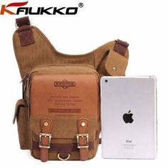 KAUKKO Mens Retro Multi-functional Pockets Leisure Canvas Bag Crossbody Bags - US$31.29
