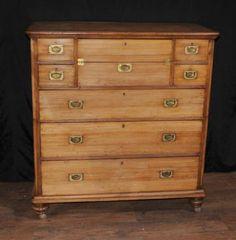 Antique Camphor Campaign Military Chest Drawers Desk Secretaire Bureau