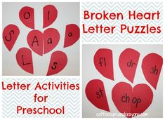 Alphabet Activities for Preschool: Heart Puzzles from Coffee Cups and Crayons