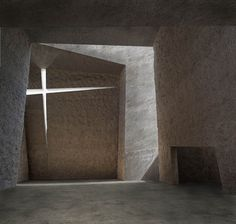 Church in La Laguna by Menis Arquitectos in Tenerife         Menis Arquitectos have designed a beautiful monolithic brutalistic church. Its massive concrete volume, made out of four separate pieces, allows the light to shine though their slight tilted set back enhancing the spiritual atmosphere