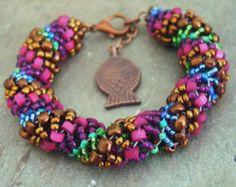 Slinky Comfy Colorful Boho Handstitched Dutch Spiral Bracelet        1.99 SHIPPING USA