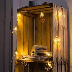 Kupfer LED geometrische Lichterkette – 6 Meter Gesamtlänge   20 LEDs warm-weiß   rose gold pyramidenform - kein austauschen der Batterien   NICHT batterie-betrieben: Amazon.de: Beleuchtung