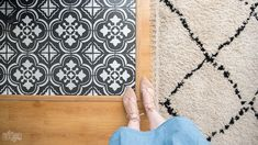 Learn how to paint tile floors with a stencil with my step by step DIY tutorial. Get the look of farmhouse cement tile on a budget! Ceramic Tile Floor Bathroom, Tile Floor Diy, Stenciled Floor, Floor Stencil, Cement Tiles, Painting Tile Floors, Painted Floors, Cutting Edge Stencils, Diy Home Repair