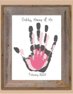 Mom + Dad + Me handprint art