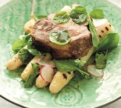 Svinenakke med tyske asparges | Appetitt Chili, Steak, Food, Chile, Essen, Steaks, Meals, Chilis, Yemek