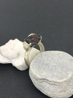 Large raw rough ruby gemstone * sterling silver * sand cast in place * unique organic ring Jewelry Casting, Sand Casting, Ruby Gemstone, Delft, Bands, Diamonds, It Cast, Organic, Gemstones