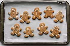 These holiday gingerbread cookies have less than half of the fat than most gingerbread man cookies but the same great flavor and are super easy to make! Christmas Gingerbread, Noel Christmas, Christmas Treats, Gingerbread Men, Ginger Bread Cookies Recipe, Ginger Cookies, Cookie Recipes, Holiday Baking, Christmas Baking