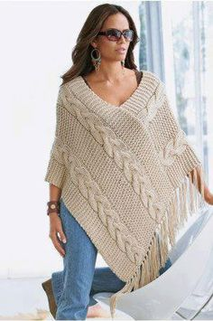 Poncho made to order hand knit cardigan, jacket, poncho with sleeves - stricken - Knitting Ideas Poncho Knitting Patterns, Crochet Poncho, Loom Knitting, Knit Patterns, Hand Knitting, Knitting Stitches, Knitting Designs, Knitting Needles, Doll Patterns