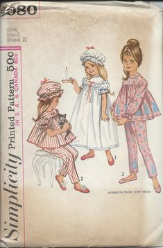 60s Simplicity Pattern # 5080:  Girl Toddler Pajamas, Nightgown and Cap  Size 2