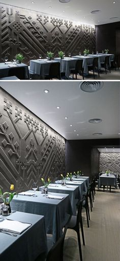 Каменный гобелен на стенах современного ресторана