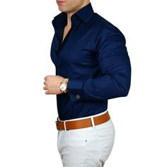 S by Sebastian Navy Blue Dress Shirt - Mens Shirts Casual - Ideas of Mens Shirts Casual - We have expanding our signature high collar double button dress shirts! Now softer than ever and in more colors. Collar always stays up! Navy Blue Dress Shirt, Navy Blue Dresses, Blue Shirt Outfit Men, Navy Blue Shirts, Men Shirt, Mens Blue Shirt, Dark Blue Shirt, White Shirts, Dark Navy