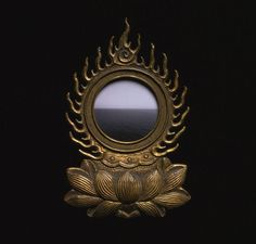 13th century Buddhist reliquary with a photograph of a Caribbean seascape by Hiroshi Sugimoto