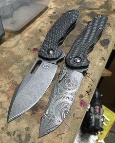 """Carbon fiber. GB customs Tanic 2 @tuffknives and Nova Blades Tombstone…"