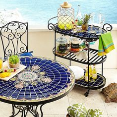 This tile-topped Serving Cart is great for a small Patio #pier1outdoors #ad