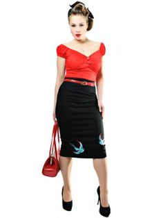 Helga Skirt Swallow Embroidery by Collectif