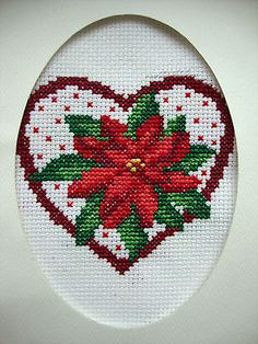 "Completed Finished Cross Stitch Card ""poinsettia Heart"""