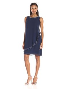 S.L. Fashions Women's Embellished-Neck Drape-Front Chiffon Dress *** For more information, visit now : cocktail dresses
