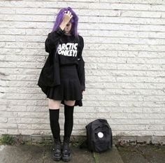anytime I see pastel hair, my first thought is pastel goth; that may be the case here, but this outfit would work for those that love Soft Grunge and/or Nu Goth. :) Very cute, and points for the Arctic Monkeys shirt.