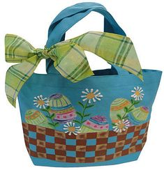 Easter Egg Tote Bag -- Paint a spring tote with festive Easter eggs. #decoartprojects