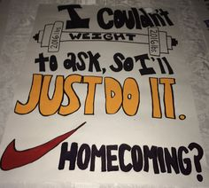 gym nike weight lift promposal prom homecoming dance ask sign idea