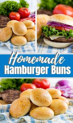 Best Burger Buns, Homemade Burger Buns, Homemade Hamburgers, Hamburger Bun Recipe, Vegan Hamburger Buns, Burger Bread, Cooking Recipes, Freeze, Snacks