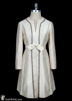 Pierre Balmain vintage beaded dress, ivory silk shantung coat style dress with jewel trim, French couture, long sleeves, jewel trim