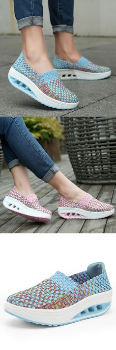 US$29.33 + Free shipping. Casual slip-on sneakers, colorful rocker sole shoes, knit shake shoes, women casual slip on shoes.Color: Rose, Green, Pink, Blue. US size 5-9.