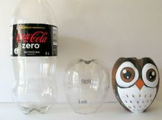 Make an owl from a pop bottle! Faites-un hibou d'un boutaille de boisson gasseuse!