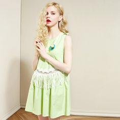 tassel style sleeveless shift dress
