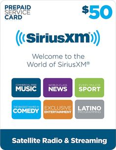 SiriusXM - $50 Prepaid Service Card for SiriusXM Satellite Radio - Multi