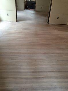 The Grey House Revival: Scandi whitewashed floors, etc White Washed Floors, Red Oak Floors, Staining Wood Floors, Hardwood Floors, Midcentury Ranch, Wood Floor Colors, Grey Houses, Grey Stain, Floor Finishes