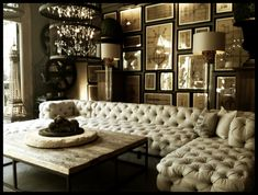 Terrific Sectional Tufted Sofa Design And Rectangular Wooden Coffee Table Plus Cool Hanging Lighting