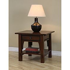 @Overstock.com - Talisman 1-drawer End Table - Add a touch of sophistication to your home decor with a Talisman end tableLiving room furniture has a walnut cherry finishAccent table has one drawer for storage  http://www.overstock.com/Home-Garden/Talisman-1-drawer-End-Table/3979038/product.html?CID=214117 $179.99