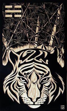 Personal Commissions - Woodcut by Mario Sayavedra, via Behance Woodcut Art, Scratchboard Art, Engraving Printing, Aboriginal Art, Print Pictures, Line Art, Printmaking, Screen Printing, Street Art