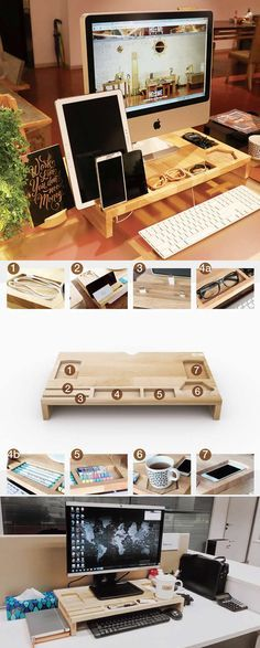 Wood Monitor iMac Stand Stationery Office Desk Organizer Pen Holder iPad Cell Phone Charging Station Dock Holder Over the Keyboard