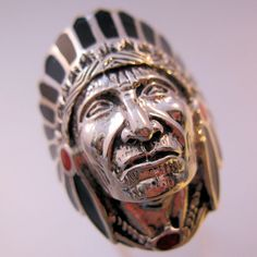 $110.00 Vintage Native American Indian Chief Ring Sterling Onyx Coral Inlaid Mens Size 10 Jewelry Jewellery FREE SHIPPING by BrightEyesTreasures on Etsy