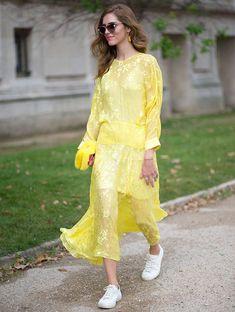 Chiara Ferragni Street Style Vestido Amarelo