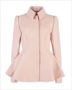 TED BAKER LONDON A touch of cashmere makes this pale pink peplum topper all the more sweet.   Wool and cashmere blend, $395; tedbaker-london.com.