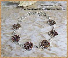 Faux Druzy Bracelet in silver tone Beach by BeachDreamDezines