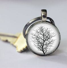 Keychains – Tree Black And White Keychain – a unique product by MadamebutterflyMeagan on DaWanda