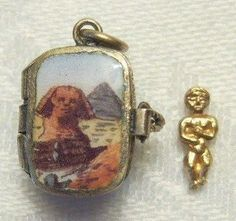 1920's Enameled Moses Basket Charm or Pendant - OPENS to Moses from elegantfrog on Ruby Lane